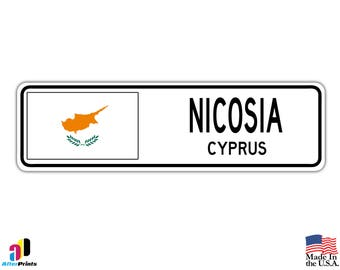 Nicosia, Cyprus Street Sign Cypriot Flag City Country Road Wall Gift