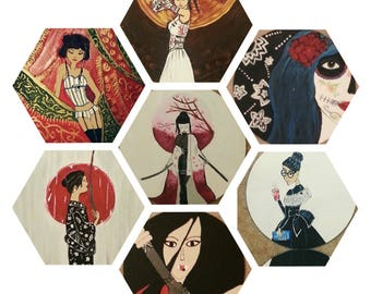 Paintings on vinyl records