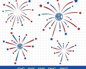 Fireworks SVG 4th of July svg Patriotic svg Merica svg cut files for Silhouette Cricut and other Vinyl Cutters files Svg Eps Dxf Png Jpg