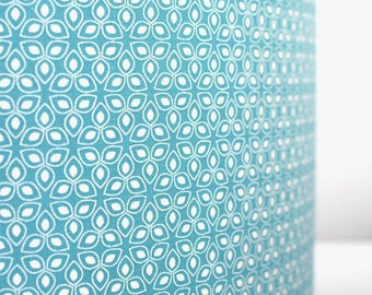 Geometric floral lampshade handmade by vivid shades, modern retro stylish funky teal petal graphic custom made drum ceiling 40cm 45cm 50cm