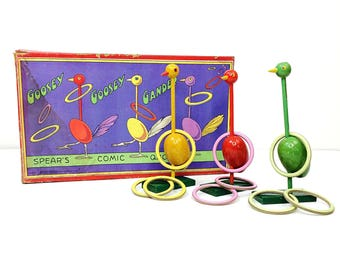 Vintage Spears Comic Quoits Goosey Goose Gander Ring Toss Game in Box-England