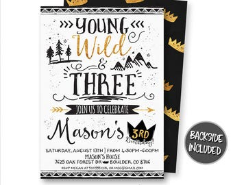 Young Wild and Three Invitation, Wild One Invitation, Wild Thing Invitation, Crown Invitation, Boho Invitation, Arrows, Digital, Printable