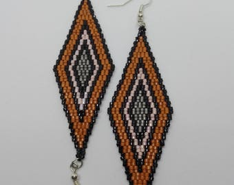 Miyuki beads earrings - diamond