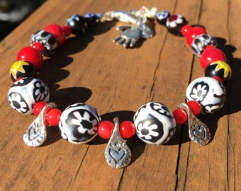 Heart Beaded Bracelet - Boho Heart Bracelet - Red Beaded Bracelet - Beaded Heart Bracelet - Black White Bracelet - Heart Charm Bracelet