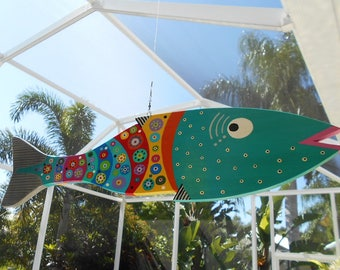 Far Out Fish Works . . . Hanging Wind Fish . . Aqua.....SUMMER SALE