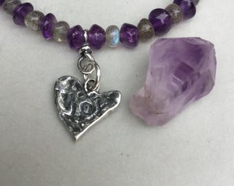 Labradorite, Amethyst and Sterling Bracelet