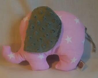 Pink stuffed elephant toy - nursery decor - white stars - kids pillow - handmade kids toy - kids pillow - minky toy