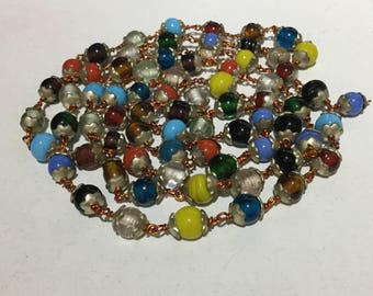 Harlequin Czech Glass Beaded Necklace Wired