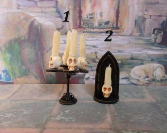 Gothic style. Candlesticks. Halloween. Dollhouse. Scale 1:12
