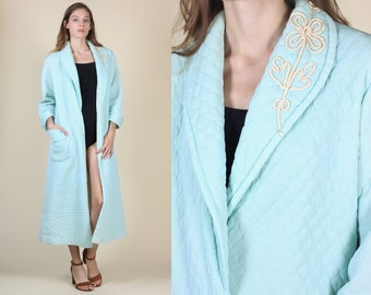 60s Quilted Robe // Vintage Baby Blue Embroidered Flower Long Bathrobe Loungewear - One Size