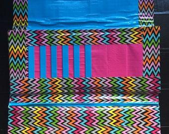 Tri-fold womens duct tape wallet (rainbow chevron theme)