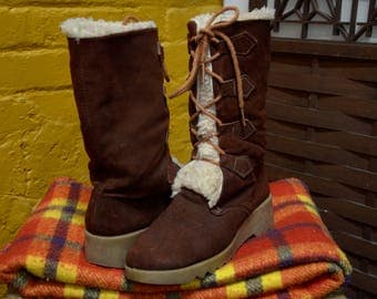 70s Shearling Lined Brown Suede Lace Up Boots, Leather Winter Calf Boots, Us Women's SZ 10