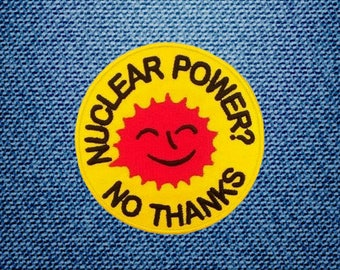 Nuclear Power? No Thanks Peace Sign Patch Embroidered Iron On Patches DIY By IronOnDIY