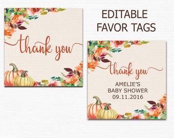 Fall baby shower thank you tags, pumpkin thank you tags, fall thank you tags, pumpkin baby shower favor tags, printable favor tags pdf BL8