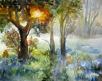 ORIGINAL WATERCOLOR, Morning Light, Watercolor painting, Green forest, Landscape painting, Fog watercolor
