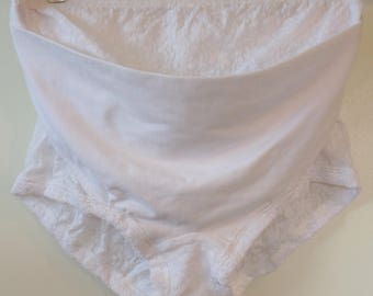 Vintage maternity support unworn size Large white lace panty made by natural support with adjustable support sling