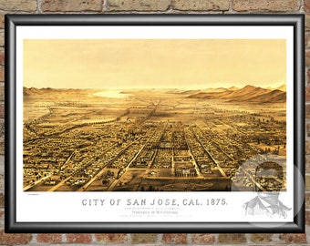 San Jose, California Art Print From 1875 - Digitally Restored Old San Jose, CA Map Poster - Perfect For Fans Of California History