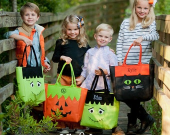Personalized Halloween Tote Bag - Monster, Cat, Pumpkin Monogram Candy Bag - Trick or Treat tote - gifts under 20, girls, boys, kids