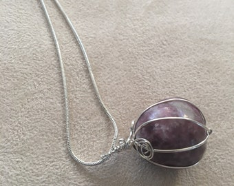 Lepidolite ball sterling silver necklace