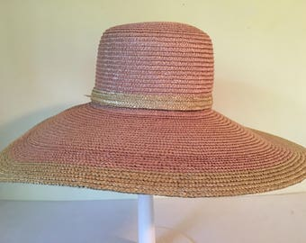 """Vintage Lady Rachel women's wide 5.5"""" brim natural straw hat pink and natural color summer/sun outdoors hat, one size, made in Italy"""