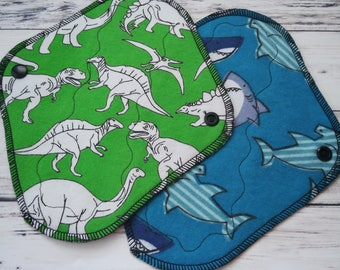"Cloth Pantyliners set of 2 - 8"" Everyday Light Cloth Pads kit - Dinosaurs Mama Cloth - Sharks Reusable Pad - Prehistoric Cloth Liners"