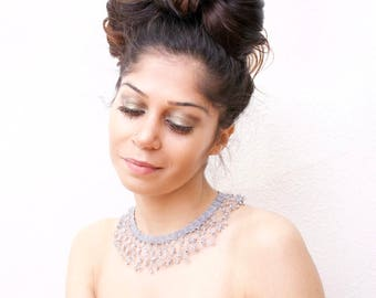 Necklace, necklace, crochet necklace, beaded, crochet necklace with beads, statement necklace, handmade,.