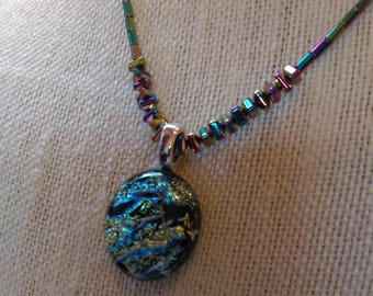 Natural Rainbow Hematite Necklace with Pendant Magnetic Clasp