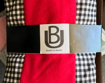 Red and Black Checkered Cotton Fleece Backed Bundle Up Blanket