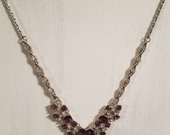 Vintage Signed Henry BOGOFF Amethyst & Clear Rhinestone Necklace