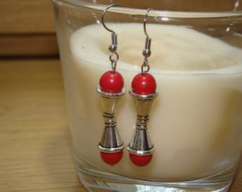 Stone earrings red howlite tapered