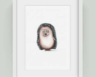 Vintage Print -  cute hedgehog.  Wall Art, Poster, Animal Portrait. Baby Animal Wall Art print.