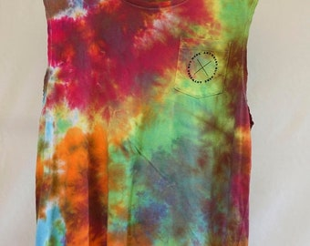 25% OFF ENTIRE SHOP Mens Lg - Tank Singlet - Ready To Ship - Unisex - Spiral Tie Dyed - 100 Percent Cotton - Free Shipping within Aus