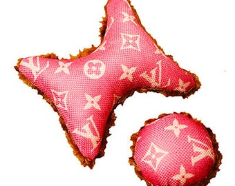 Set of 2 Pink Classic Monogram  louis Vuitton inspired Pet Small Dog Toys Teacup Toys Pet Bed
