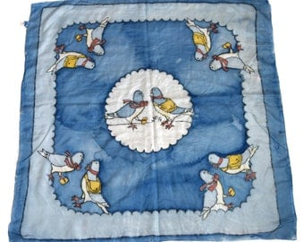 Vintage scarf Artys 100% pure SILK hand rolled hand painted birds