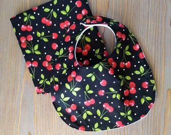 Rockabilly Baby Gift, retro theme, pinup theme, baby shower, Cherries, Polka Dots, vintage, Red Cherry, unique baby girl gift, gift for baby
