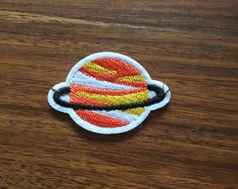 Orange Planet With Rings - Iron on Appliqué Patch