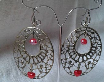 red heart and bronze earrings