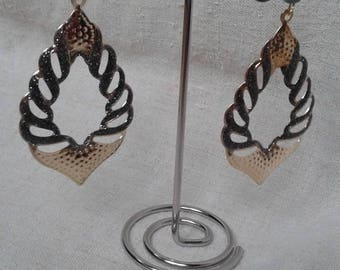 large grey and gold earrings