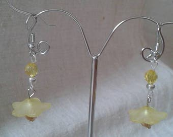 """emergence of a yellow flower"" earrings"