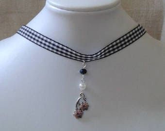 """black gingham Ribbon and Silver Flower"" Choker necklace"