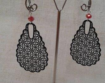 """Earrings """"black floral charm"""""""