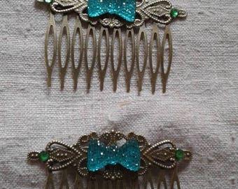 two Combs water green rhinestone bow