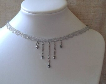 """""""Ribbon silver lace and pearls"""" Choker necklace"""