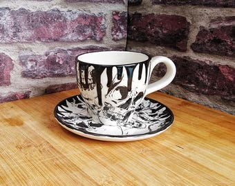 Cup and Saucer, Skull Design, Skull Mug, Gothic tea set, English tea coffee, Hand Painted Ceramic, Unique gift, Weird and Wonderful