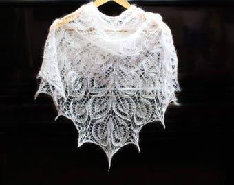 FREE SHIPPING, Wedding shawl with beaded, wedding accessory, shawl white, shawl mohair, hand knit shawl, crochet shawl, lace shawl, bridal