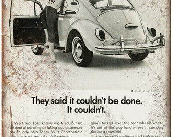 "Volkswagen of America Bug Wilt Chamberlain Ad 10""X7"" Reproduction Metal Sign A80"