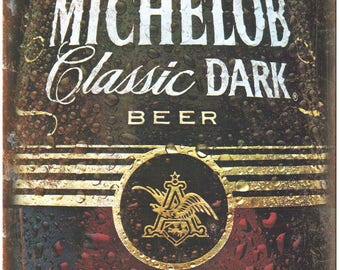 """Michelob Dark Beer Vintage Breweriana Ad 10"""" x 7"""" Reproduction Metal Sign E13"""
