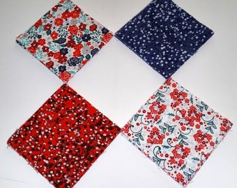 "Buttercream Fabric, Ditsy All Over Fabric, Red Fabric, Blue Fabric, Poppy Fabric, Floral Fabric, 5"" Fabric Squares"