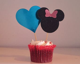 Turquoise Love heart cake/cupcake toppers