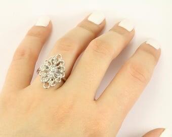 Vintage Flower Design Crystal CZ Ring 925 Sterling RG 2374